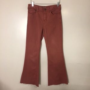 Free People Flare Wide Leg Rust collared pants